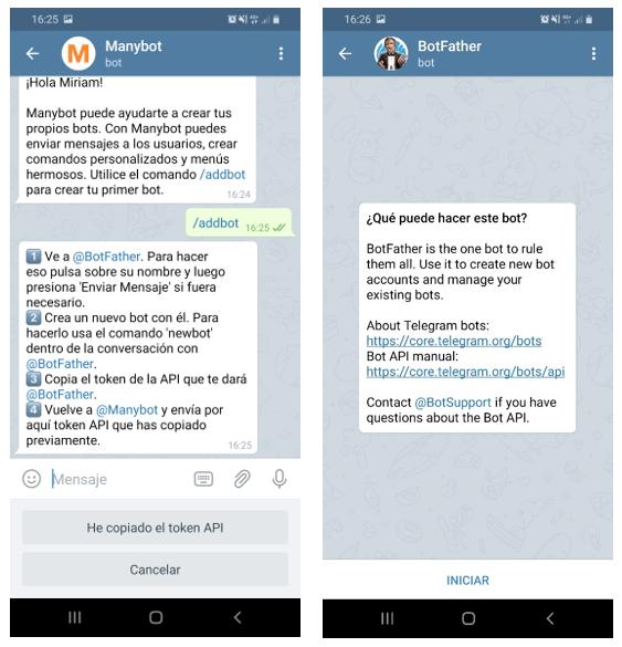 2º paso para crear un bot en Telegram Manybot nos presenta a BotFather