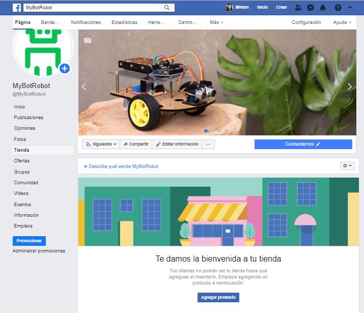 Crear tienda en Facebook mensaje bienvenida una ve creada la tienda en Facebook