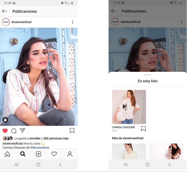 Publicación Instagram con producto antes y después de pestaña ver más