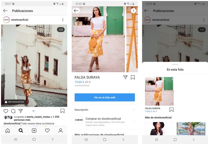 Pasos del usuario para vender productos por Instagram