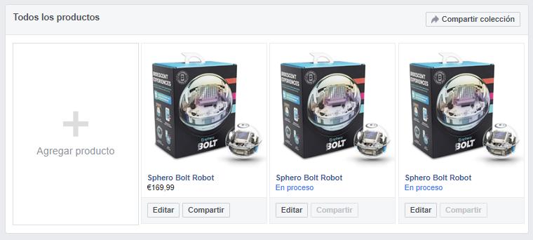 Producto diplicado en tienda Facebook durante periodo de aprobación