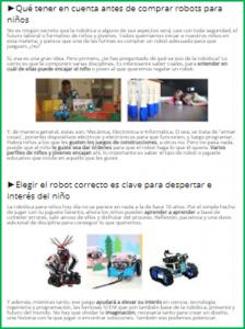 Ejemplo de post de información en temática robótica educativa