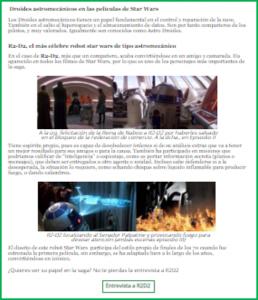 Web con mucho texto y muchas imagenes de temática star wars