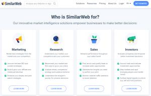 Home de Similar Web zona para quien es la herramienta